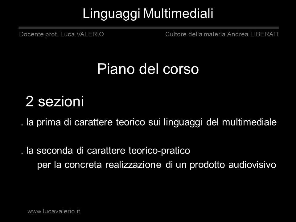 Piano del corso 2 sezioni Linguaggi Multimediali