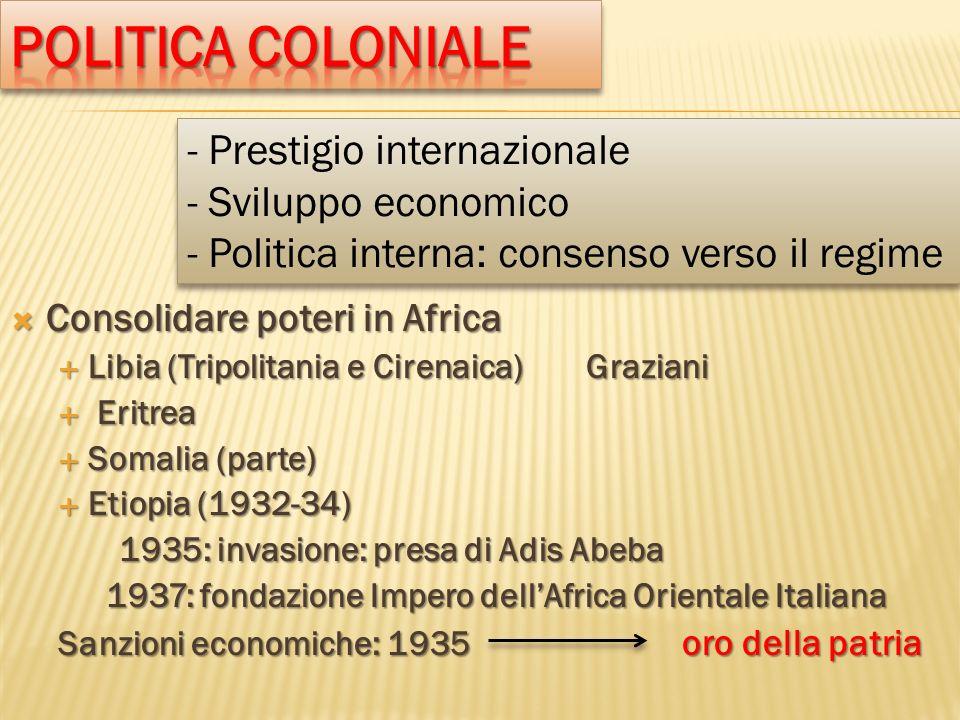 Politica coloniale - Prestigio internazionale - Sviluppo economico