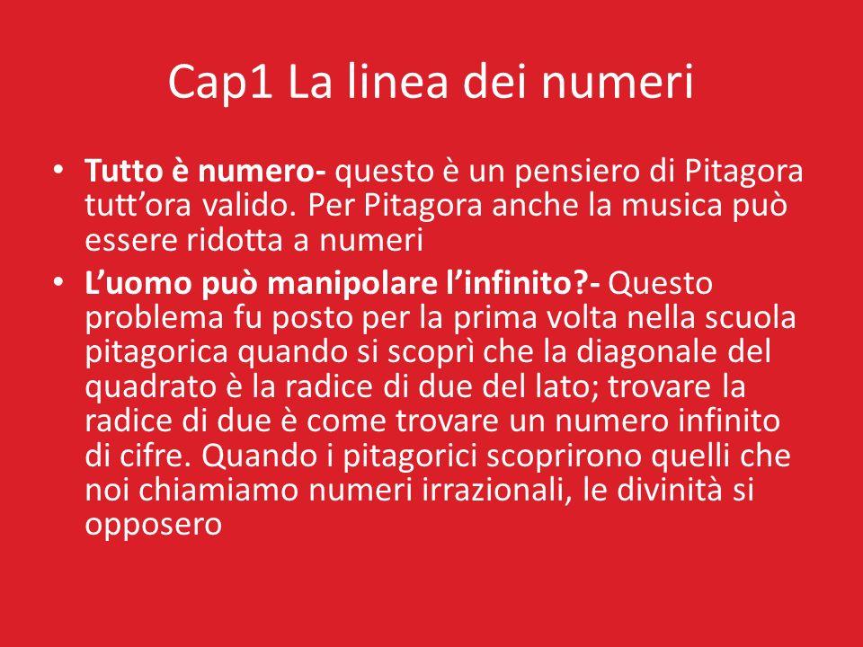 Cap1 La linea dei numeri Tutto è numero- questo è un pensiero di Pitagora tutt'ora valido. Per Pitagora anche la musica può essere ridotta a numeri.