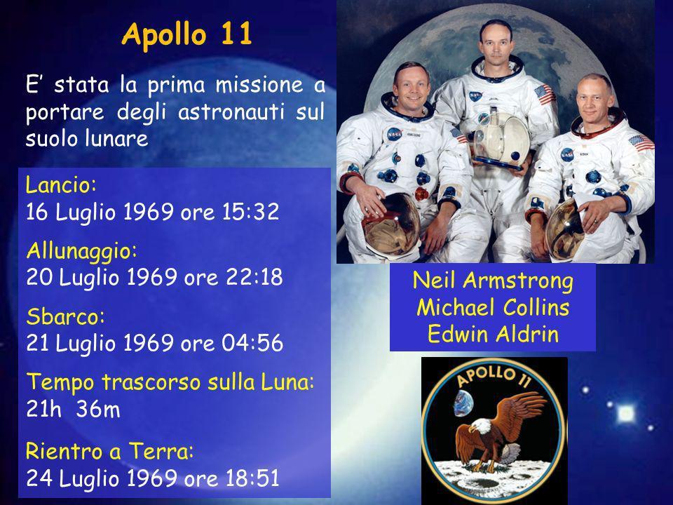 Apollo 11 E' stata la prima missione a portare degli astronauti sul suolo lunare. Lancio: 16 Luglio 1969 ore 15:32.