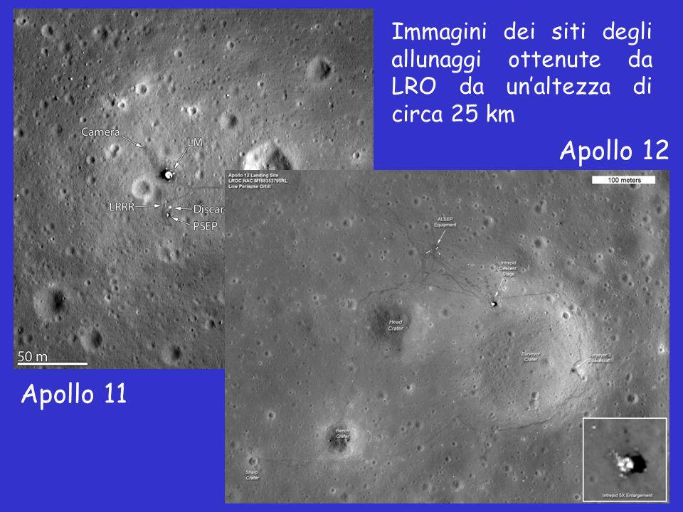 Immagini dei siti degli allunaggi ottenute da LRO da un'altezza di circa 25 km