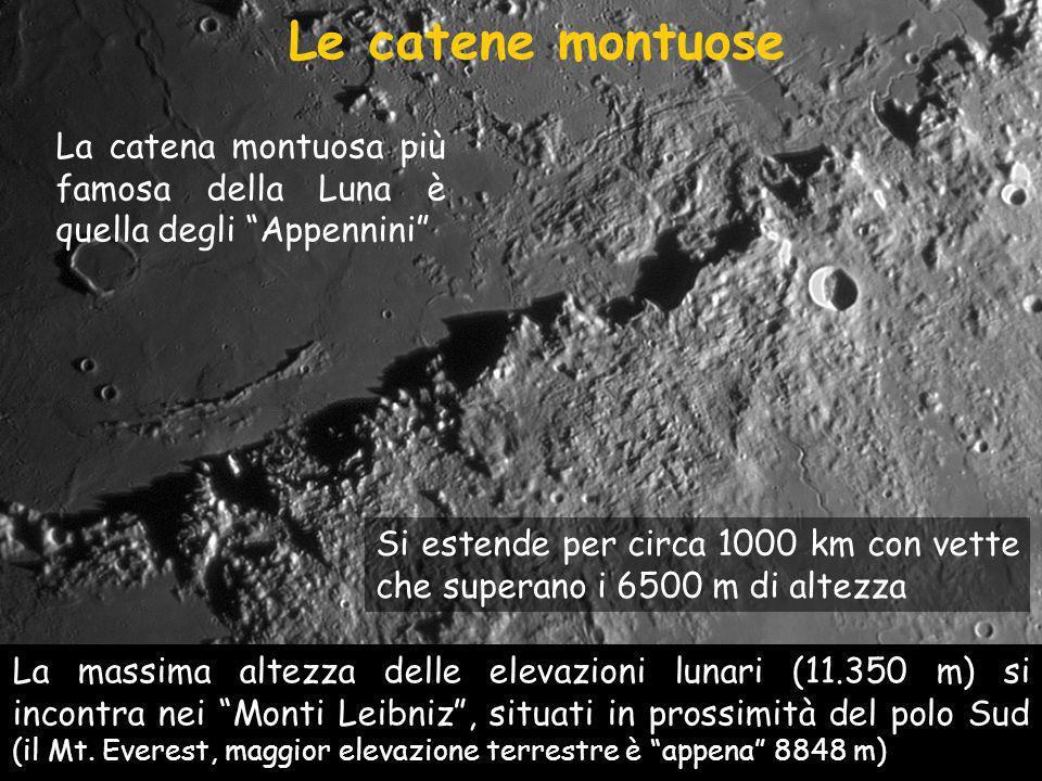 Le catene montuose La catena montuosa più famosa della Luna è quella degli Appennini