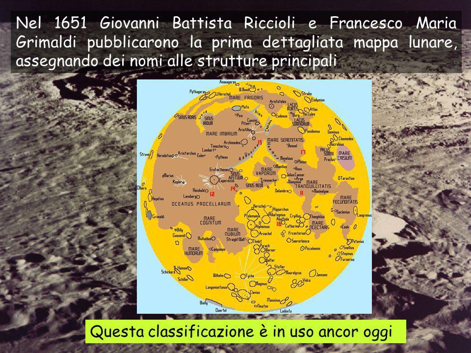 Nel 1651 Giovanni Battista Riccioli e Francesco Maria Grimaldi pubblicarono la prima dettagliata mappa lunare, assegnando dei nomi alle strutture principali