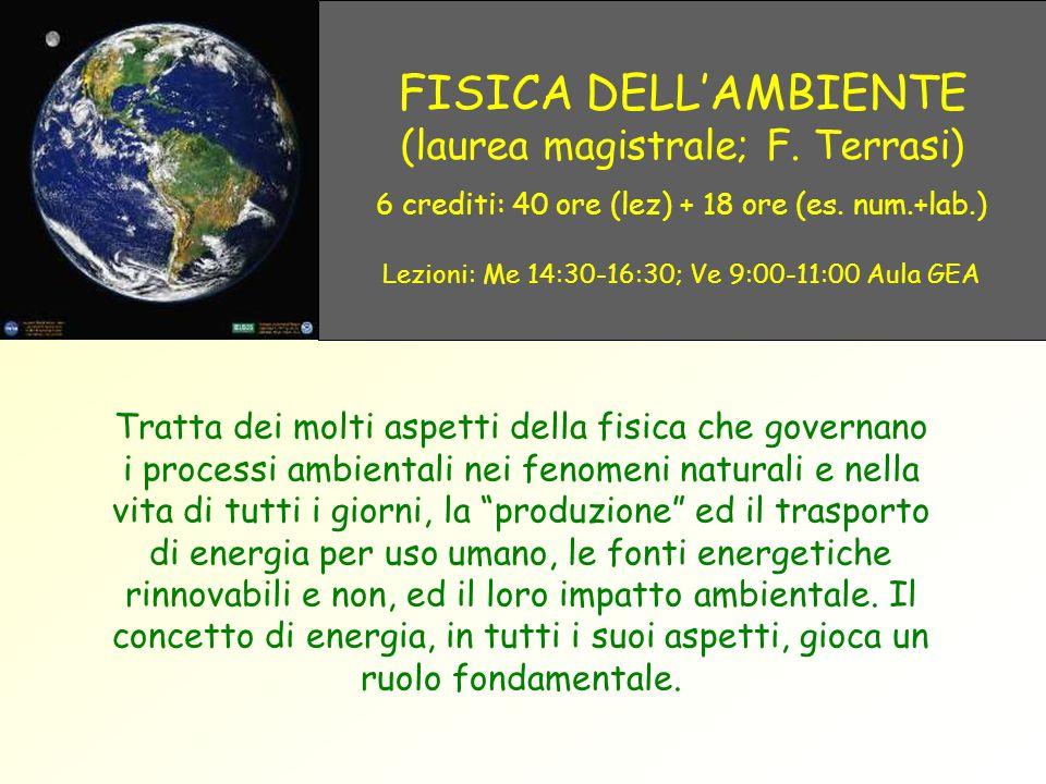 FISICA DELL'AMBIENTE (laurea magistrale; F. Terrasi)