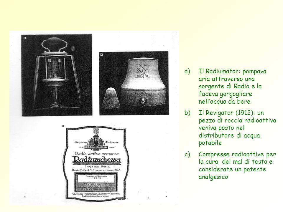 Il Radiumator: pompava aria attraverso una sorgente di Radio e la faceva gorgogliare nell'acqua da bere