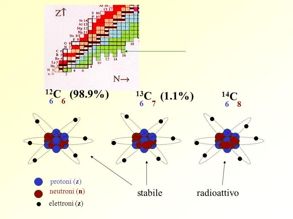 12C (98.9%) 13C (1.1%) 14C stabile radioattivo 6 6 6 7 6 8 protoni (z)