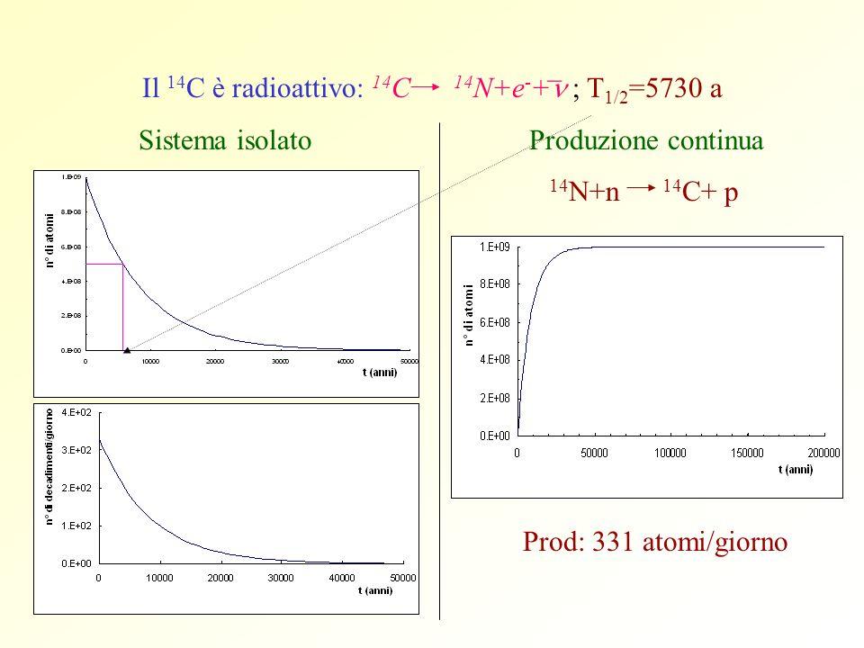 Il 14C è radioattivo: 14C 14N+e-+n ; T1/2=5730 a