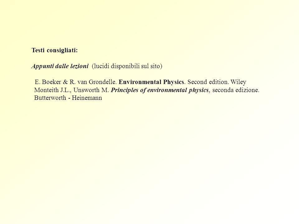 Testi consigliati: Appunti dalle lezioni (lucidi disponibili sul sito) E. Boeker & R. van Grondelle. Environmental Physics. Second edition. Wiley.