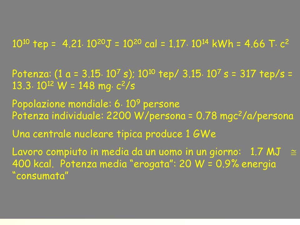 1010 tep = 4.21×1020J = 1020 cal = 1.17×1014 kWh = 4.66 T×c2