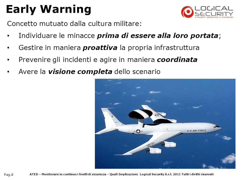 Early Warning Concetto mutuato dalla cultura militare: