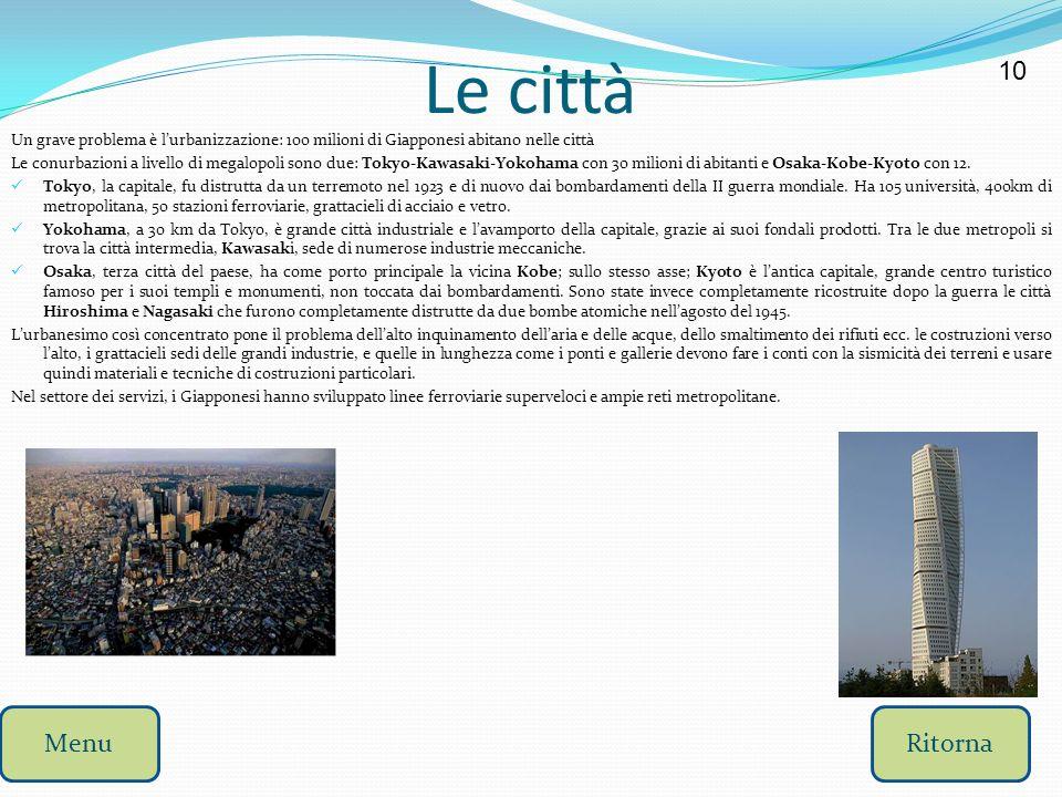 Le città 10. Un grave problema è l'urbanizzazione: 100 milioni di Giapponesi abitano nelle città.