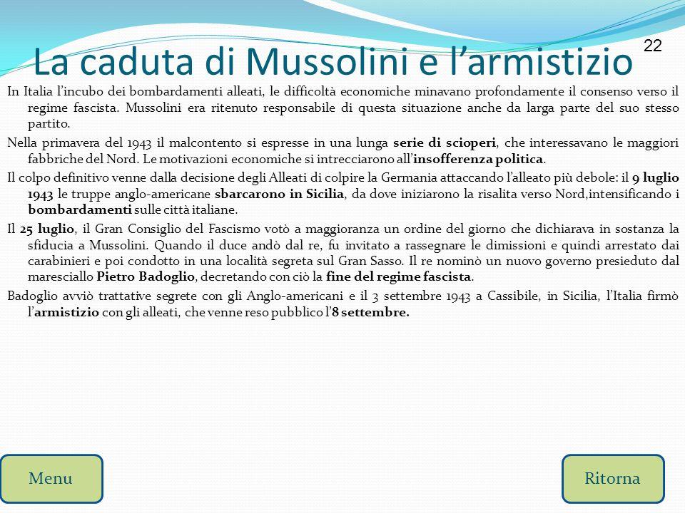 La caduta di Mussolini e l'armistizio