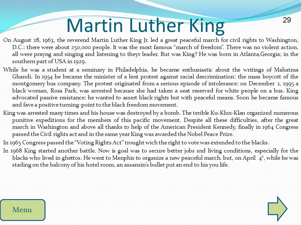 Martin Luther King 29 Menu