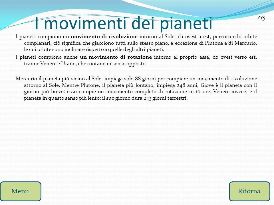 I movimenti dei pianeti