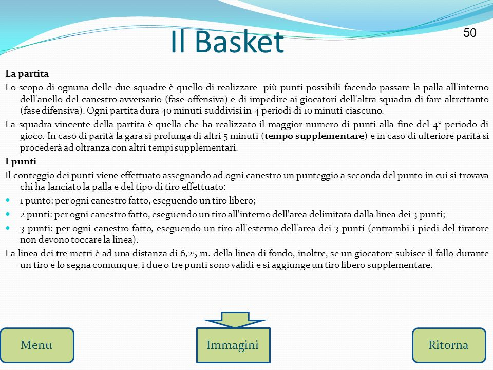 Il Basket 50 Menu Immagini Ritorna La partita