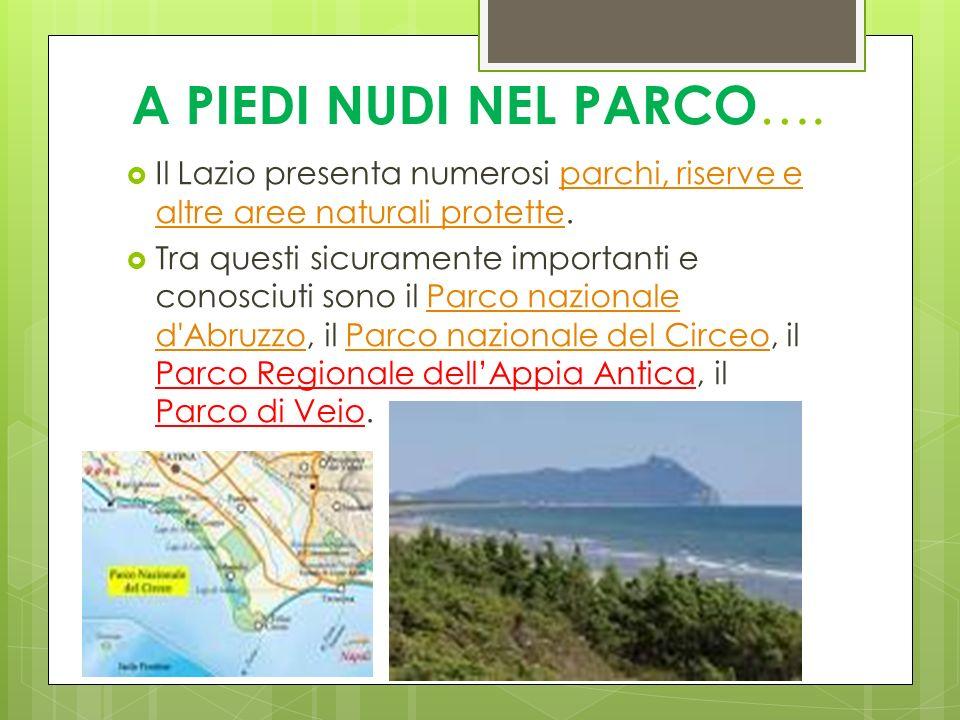 A PIEDI NUDI NEL PARCO…. Il Lazio presenta numerosi parchi, riserve e altre aree naturali protette.