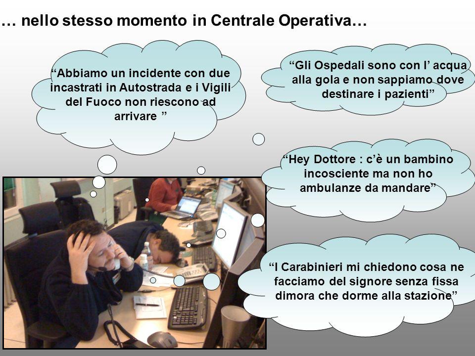 … nello stesso momento in Centrale Operativa…