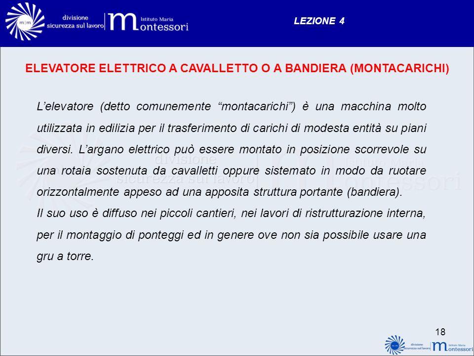 ELEVATORE ELETTRICO A CAVALLETTO O A BANDIERA (MONTACARICHI)