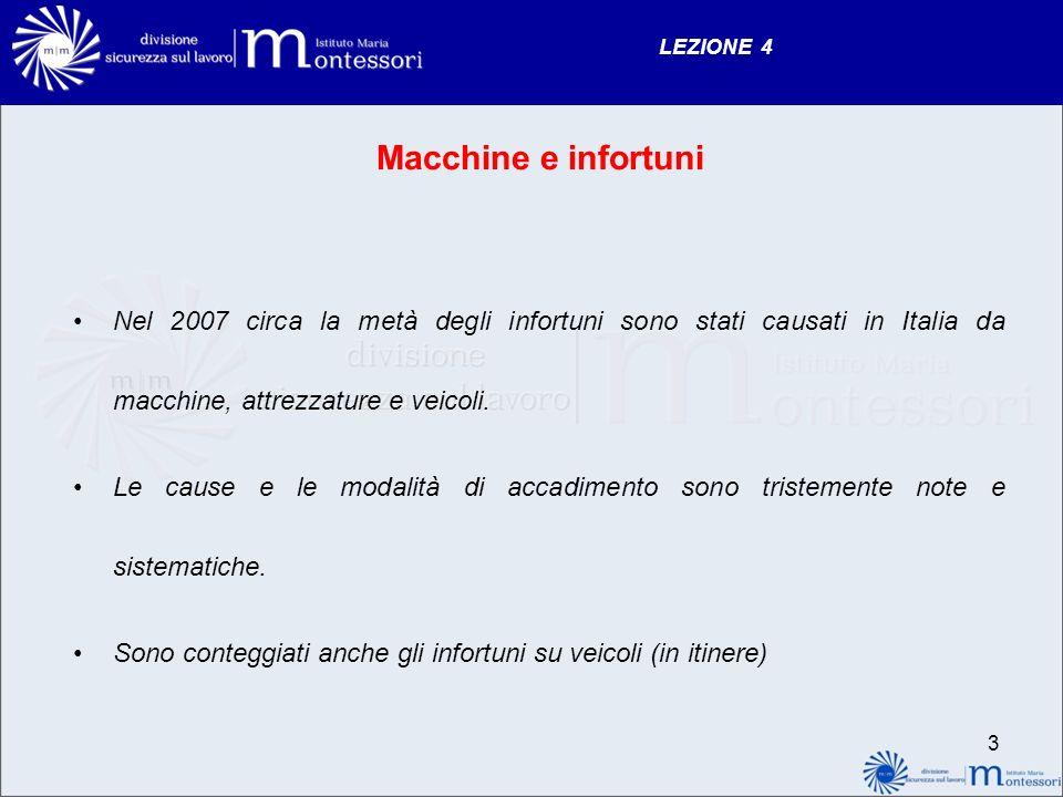 LEZIONE 4 Macchine e infortuni. Nel 2007 circa la metà degli infortuni sono stati causati in Italia da macchine, attrezzature e veicoli.