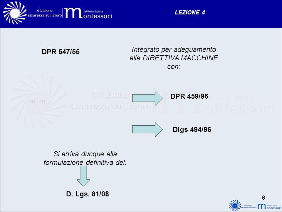 Integrato per adeguamento alla DIRETTIVA MACCHINE con: DPR 547/55