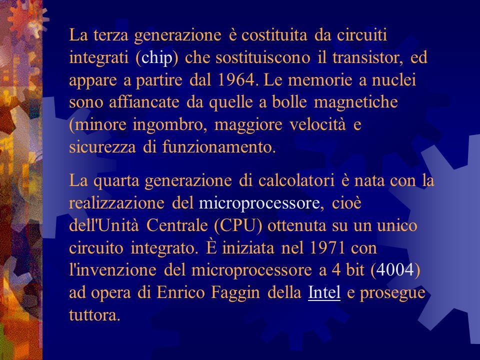 La terza generazione è costituita da circuiti integrati (chip) che sostituiscono il transistor, ed appare a partire dal 1964. Le memorie a nuclei sono affiancate da quelle a bolle magnetiche (minore ingombro, maggiore velocità e sicurezza di funzionamento.