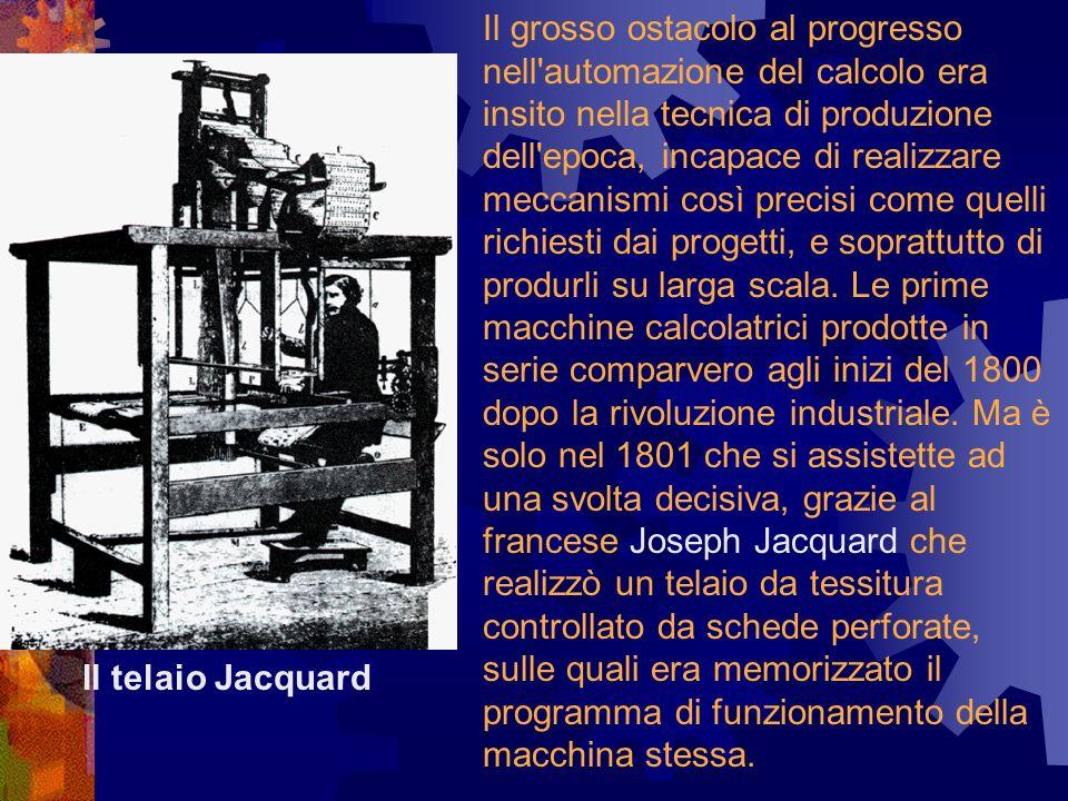 Il grosso ostacolo al progresso nell automazione del calcolo era insito nella tecnica di produzione dell epoca, incapace di realizzare meccanismi così precisi come quelli richiesti dai progetti, e soprattutto di produrli su larga scala. Le prime macchine calcolatrici prodotte in serie comparvero agli inizi del 1800 dopo la rivoluzione industriale. Ma è solo nel 1801 che si assistette ad una svolta decisiva, grazie al francese Joseph Jacquard che realizzò un telaio da tessitura controllato da schede perforate, sulle quali era memorizzato il programma di funzionamento della macchina stessa.