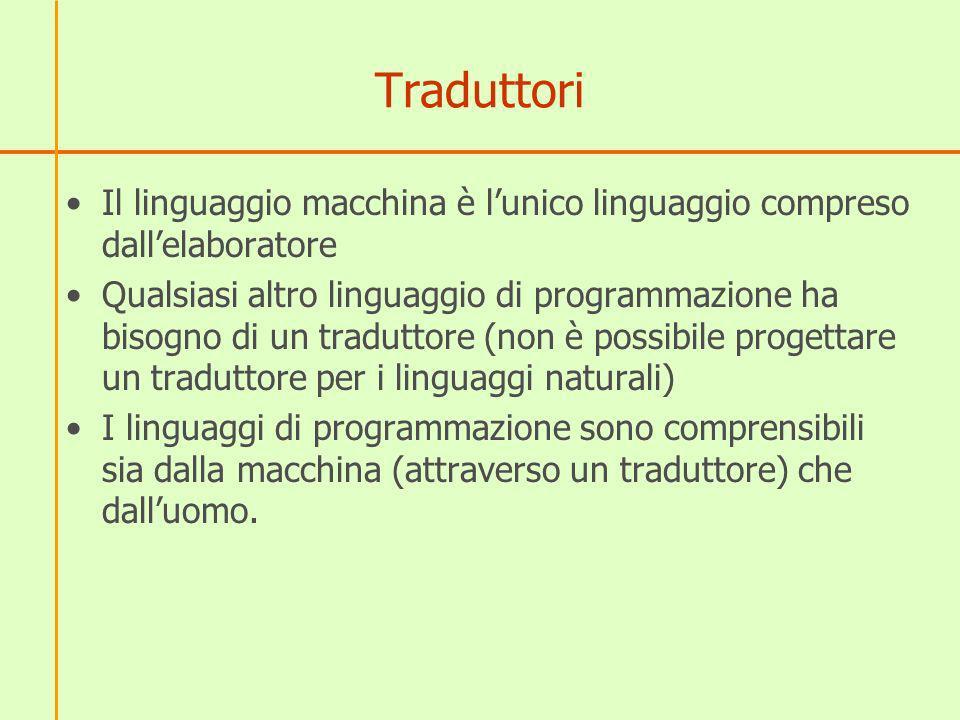 Traduttori Il linguaggio macchina è l'unico linguaggio compreso dall'elaboratore.