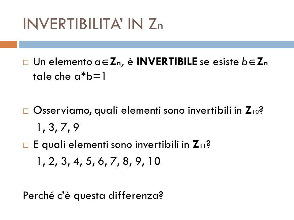 INVERTIBILITA' IN Zn Un elemento aZn, è INVERTIBILE se esiste bZn tale che a*b=1. Osserviamo, quali elementi sono invertibili in Z10