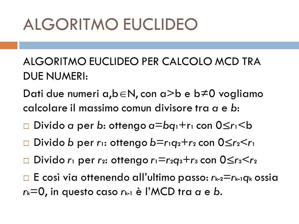 ALGORITMO EUCLIDEO ALGORITMO EUCLIDEO PER CALCOLO MCD TRA DUE NUMERI: