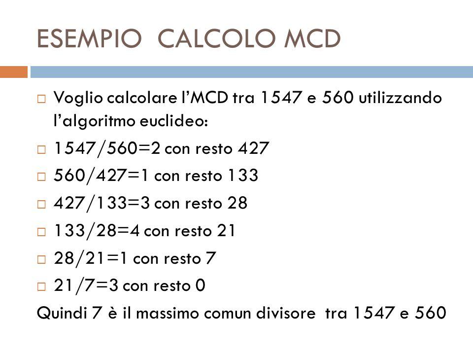 ESEMPIO CALCOLO MCD Voglio calcolare l'MCD tra 1547 e 560 utilizzando l'algoritmo euclideo: 1547/560=2 con resto 427.