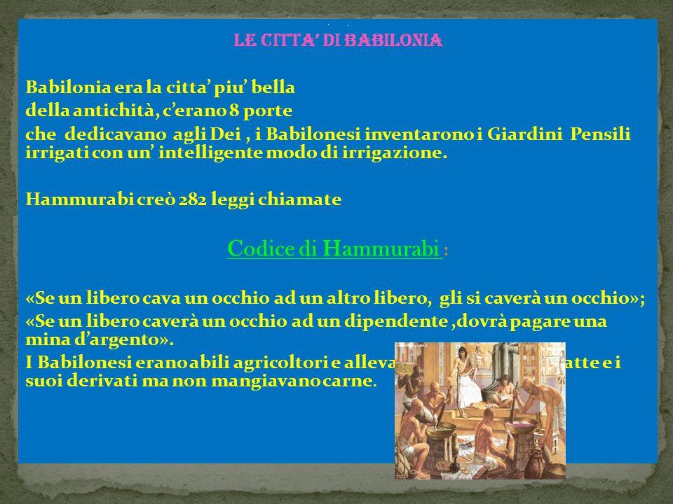 Codice di Hammurabi : LE CITTA' DI BABILONIA