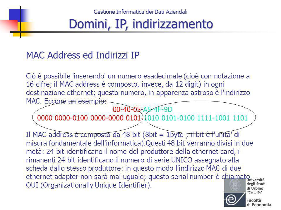 MAC Address ed Indirizzi IP