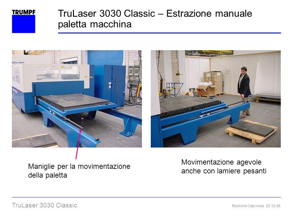 TruLaser 3030 Classic – Estrazione manuale paletta macchina