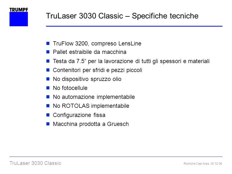 TruLaser 3030 Classic – Specifiche tecniche