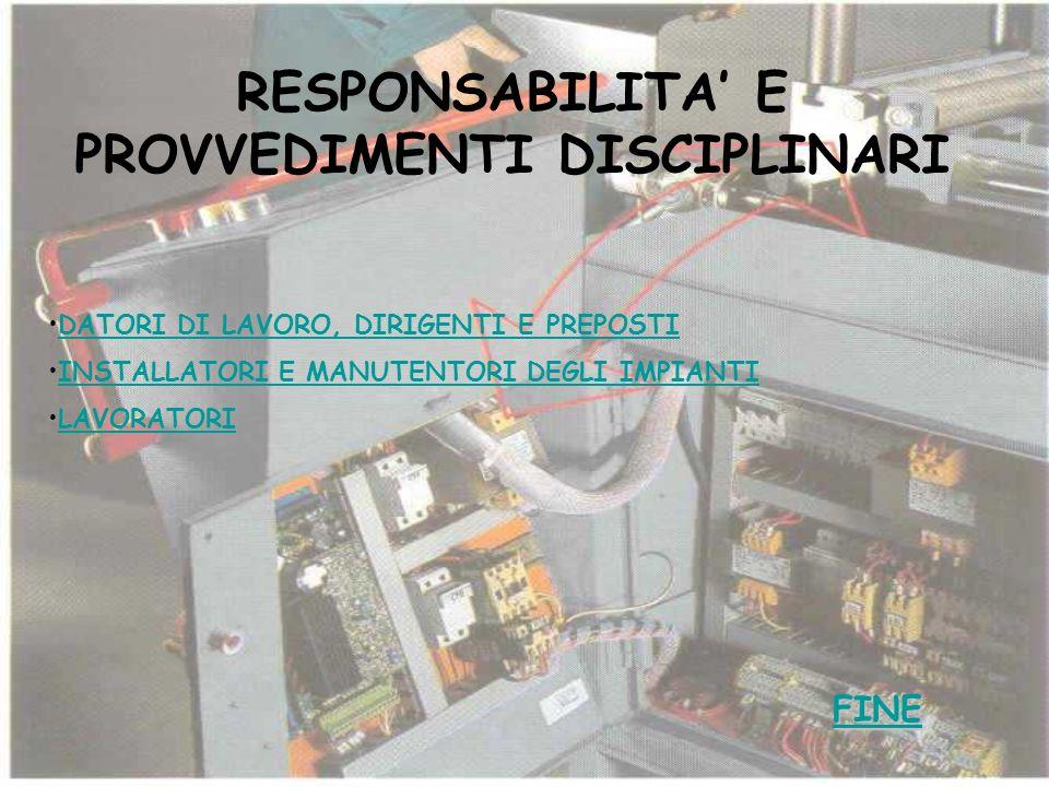 RESPONSABILITA' E PROVVEDIMENTI DISCIPLINARI