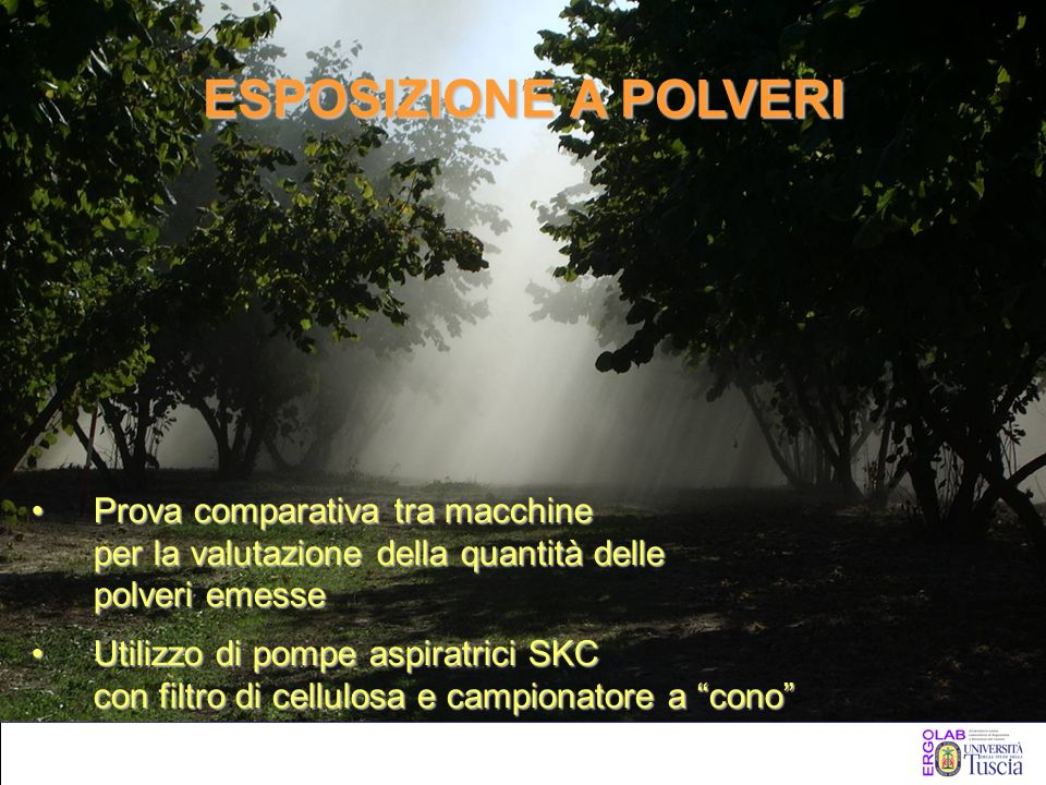 ESPOSIZIONE A POLVERI Prova comparativa tra macchine per la valutazione della quantità delle polveri emesse.