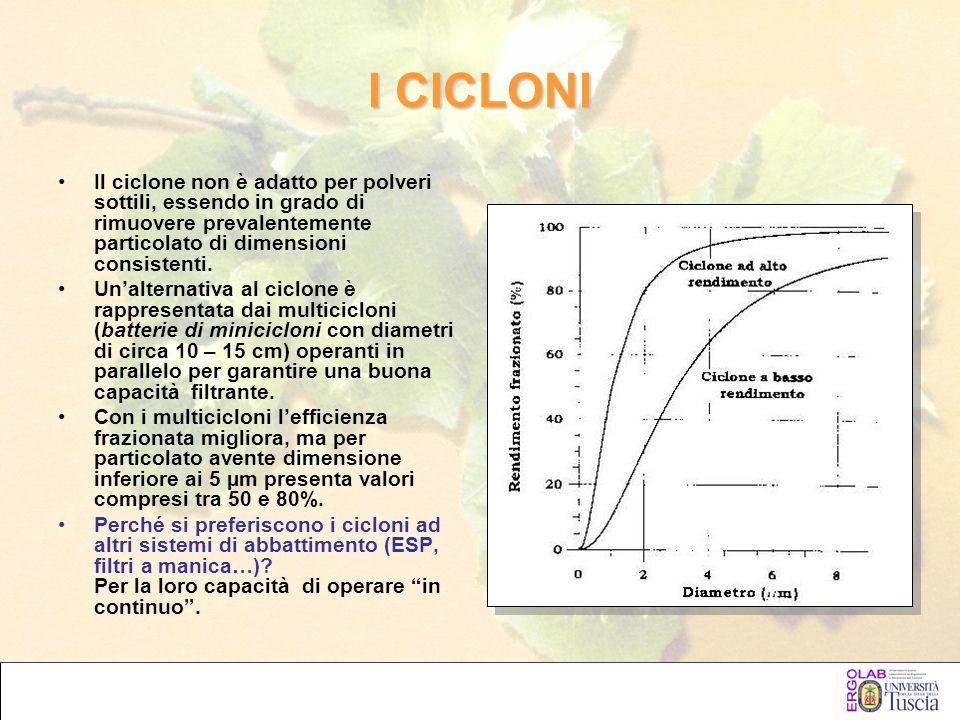 I CICLONI Il ciclone non è adatto per polveri sottili, essendo in grado di rimuovere prevalentemente particolato di dimensioni consistenti.