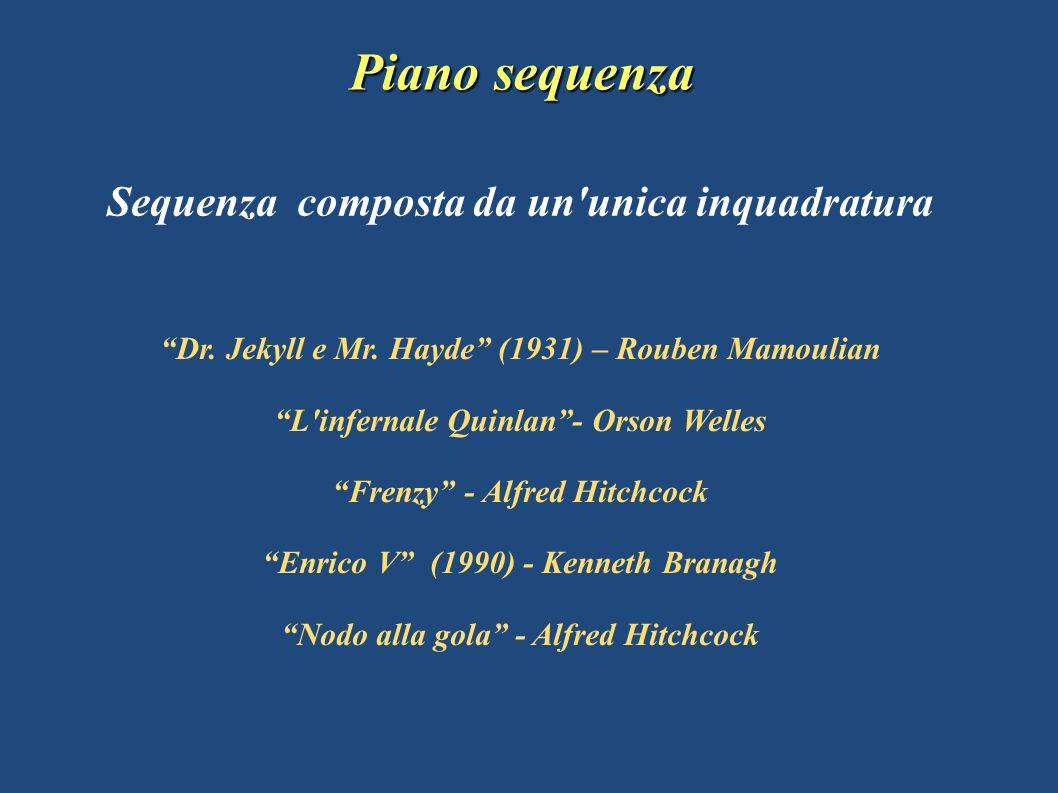 Piano sequenza Sequenza composta da un unica inquadratura