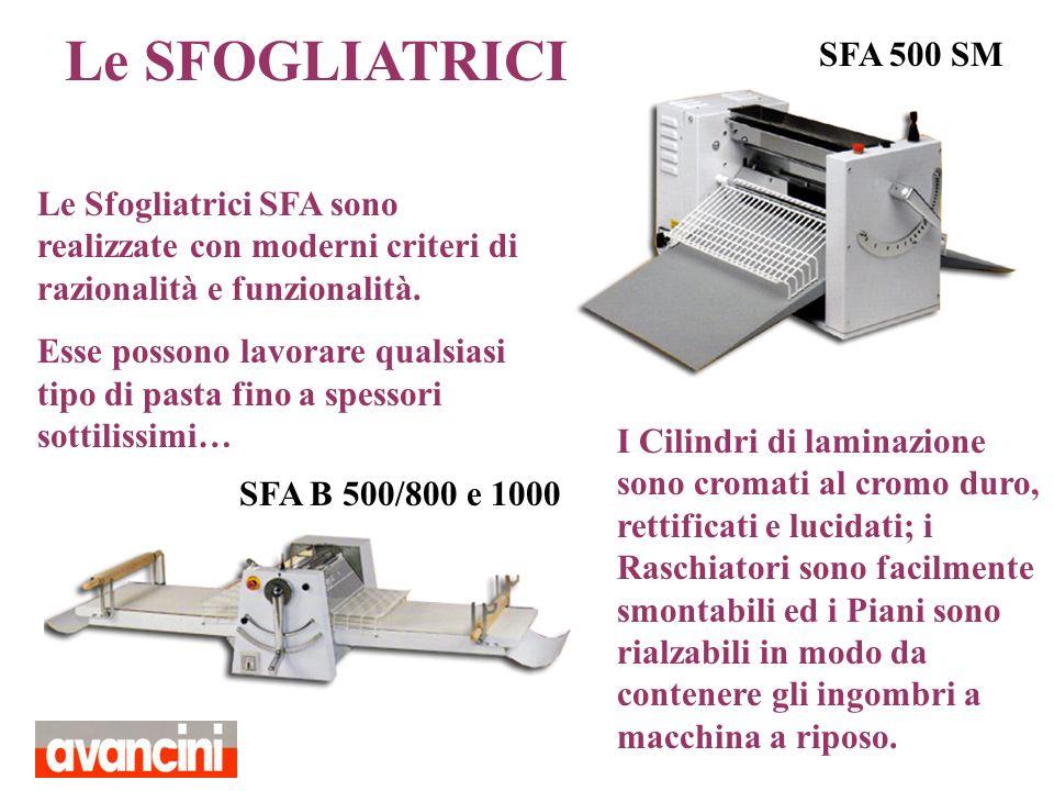 Le SFOGLIATRICI SFA 500 SM. Le Sfogliatrici SFA sono realizzate con moderni criteri di razionalità e funzionalità.