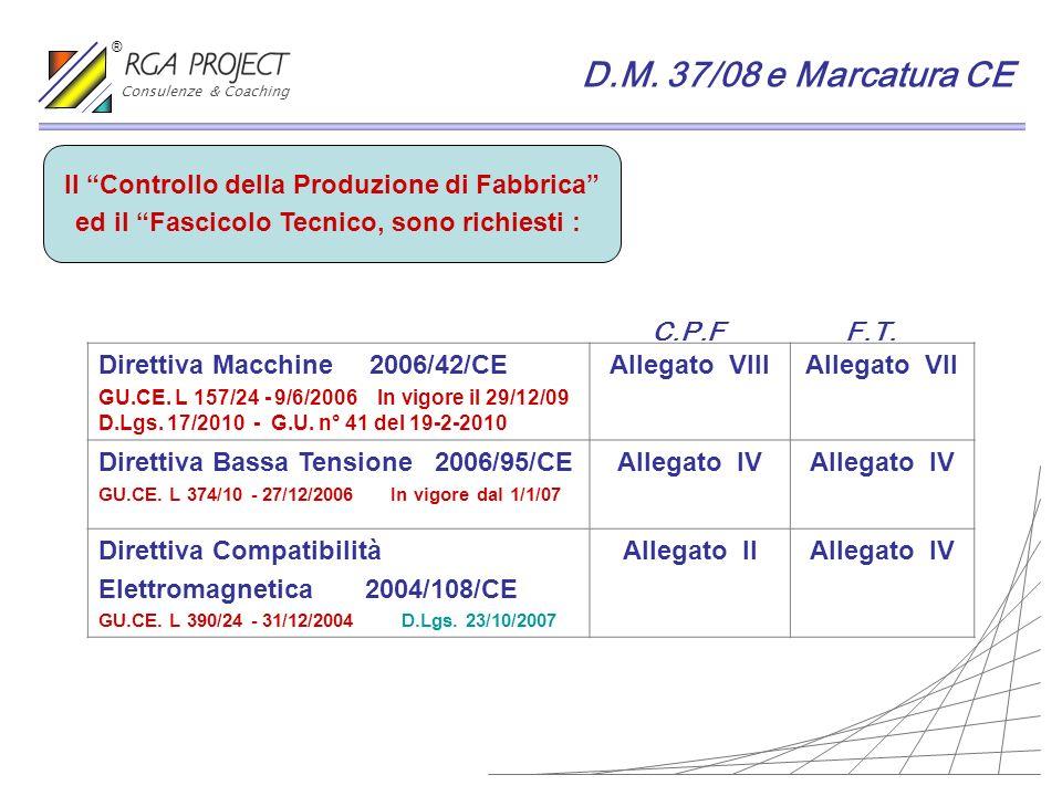 D.M. 37/08 e Marcatura CE Il Controllo della Produzione di Fabbrica