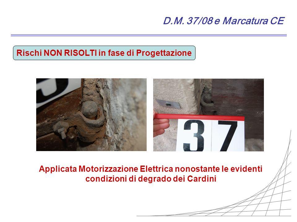 D.M. 37/08 e Marcatura CE Rischi NON RISOLTI in fase di Progettazione