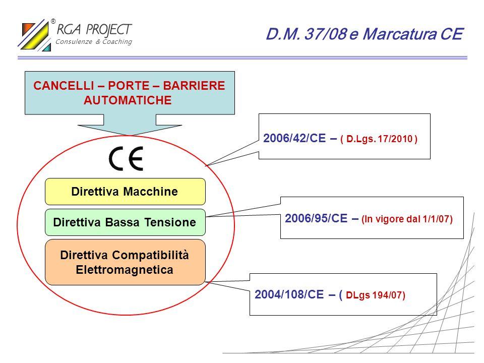 D.M. 37/08 e Marcatura CE CANCELLI – PORTE – BARRIERE AUTOMATICHE