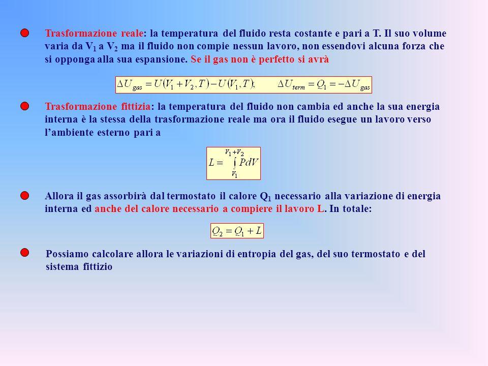 Trasformazione reale: la temperatura del fluido resta costante e pari a T. Il suo volume