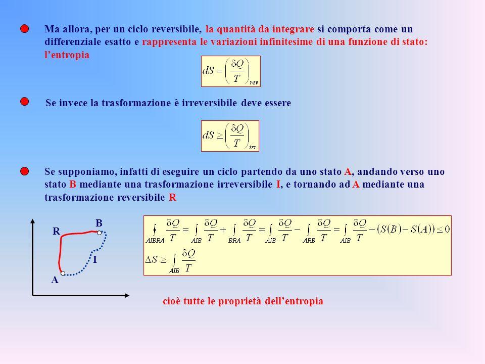Ma allora, per un ciclo reversibile, la quantità da integrare si comporta come un