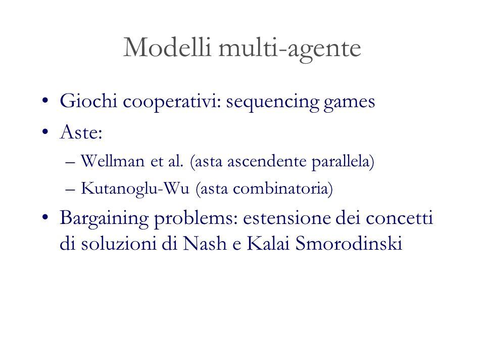 Modelli multi-agente Giochi cooperativi: sequencing games Aste: