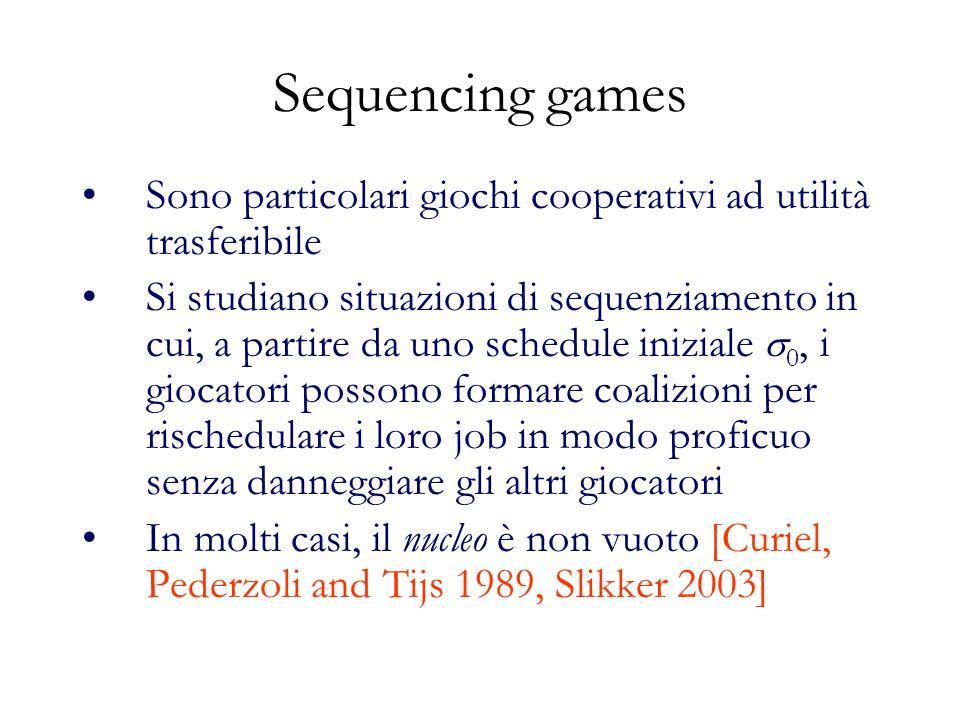Sequencing games Sono particolari giochi cooperativi ad utilità trasferibile.