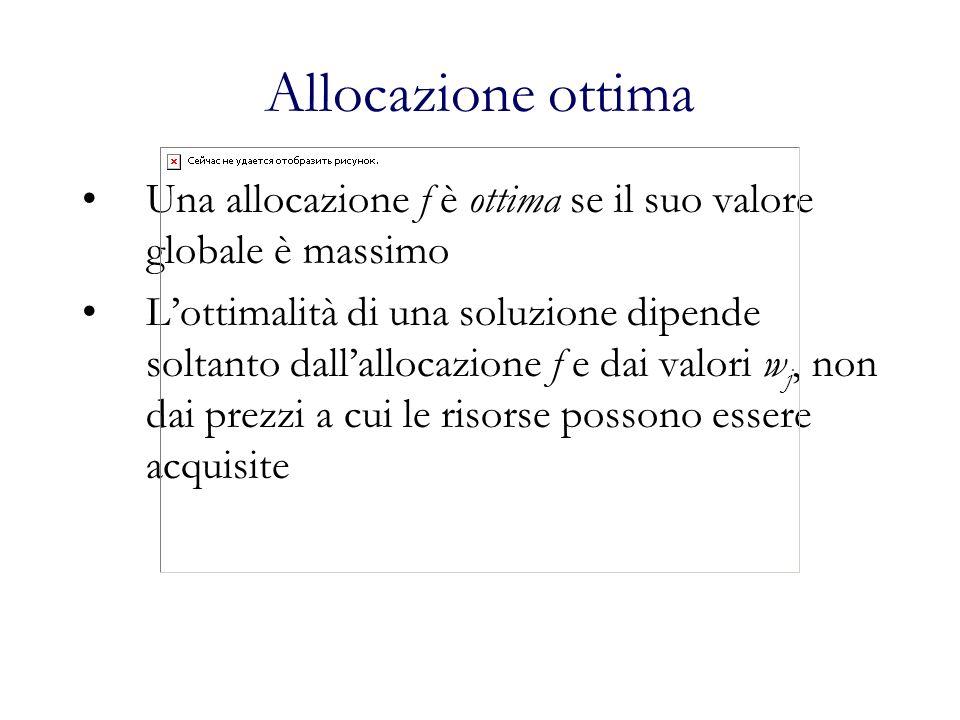 Allocazione ottima Una allocazione f è ottima se il suo valore globale è massimo.