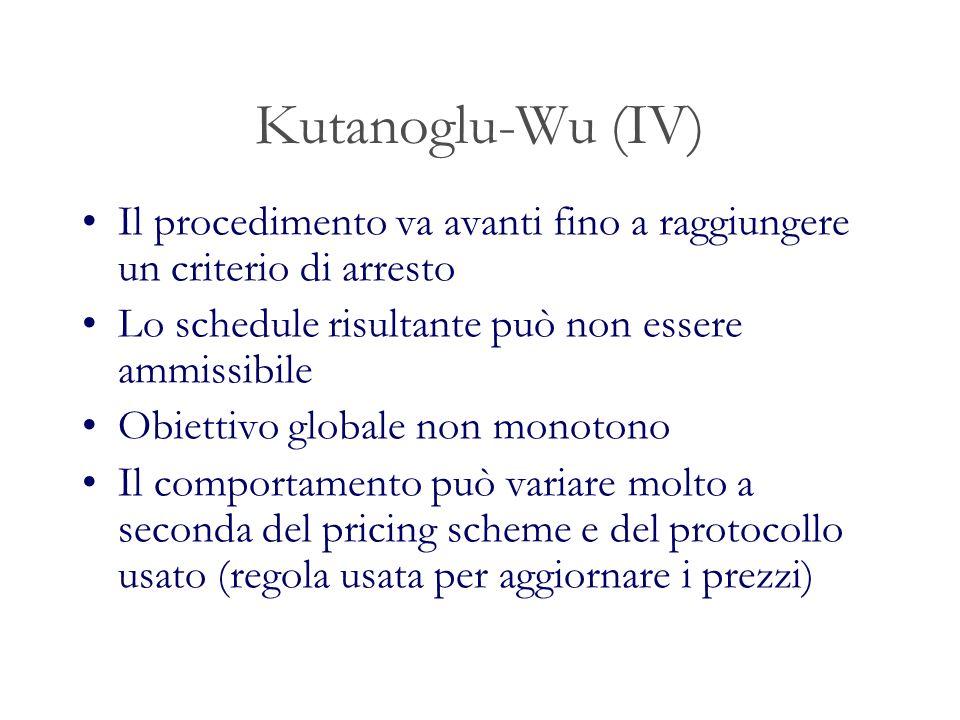 Kutanoglu-Wu (IV) Il procedimento va avanti fino a raggiungere un criterio di arresto. Lo schedule risultante può non essere ammissibile.