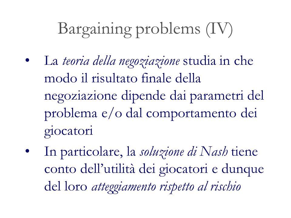 Bargaining problems (IV)