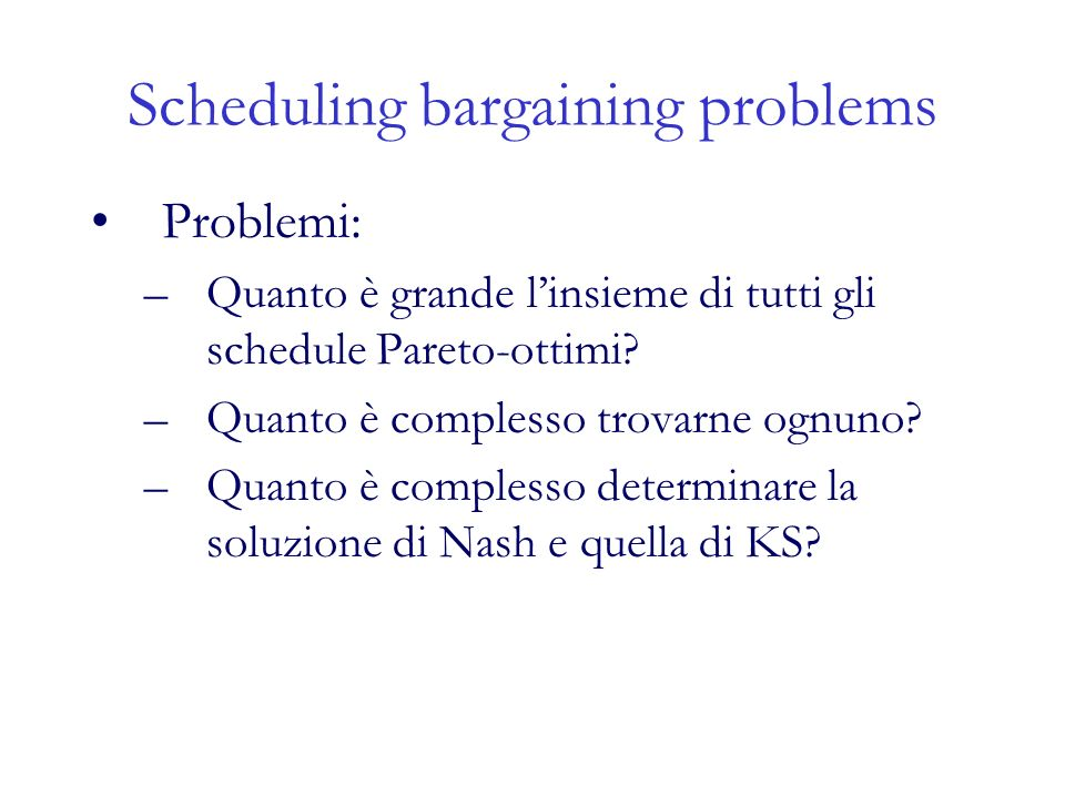 Scheduling bargaining problems